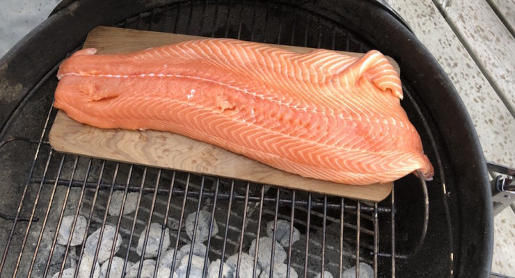 Cedar Planked Salmon on Weber Charcoal Kettle Grill