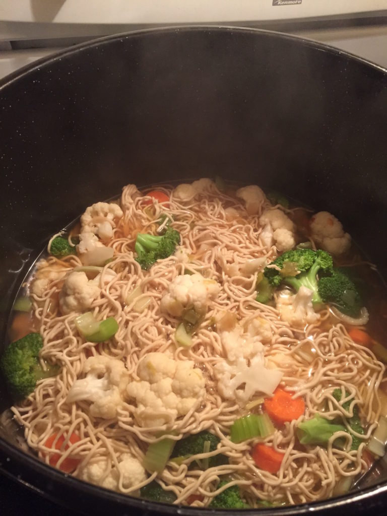 Pho bubbling on the stovetop
