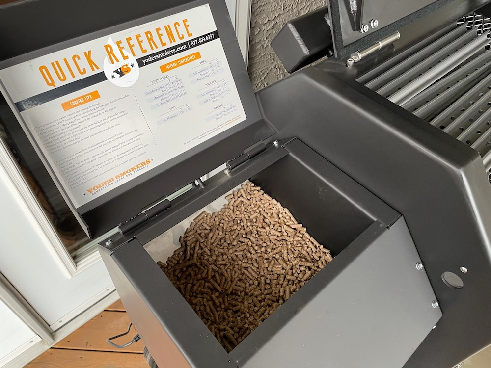 Hopper filled with pellets
